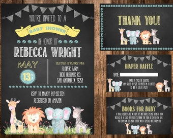 Jungle Safari Invitation , Safari Baby Shower Invitation, Elephant Invitation, Safari Birthday, Chalkboard Invitation, Printable Invitation