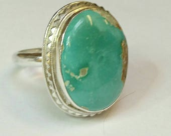 Sterling silver handmade royston turquoise ring, hallmarked in Edinburgh