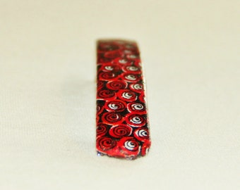 Red and Black Swirl Barrette