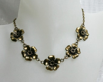 Handcrafted 'Evening Primrose' Necklace. Bronze tone floral necklace - available with or without gift box.