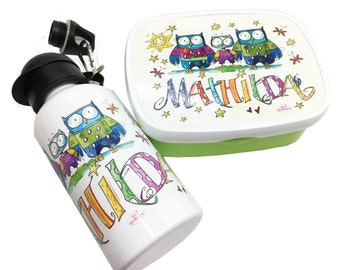 Kindergarten set owls, lunchbox and drinking bottle with name