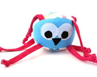 Stuffed Animal, Baby Toy, Ball, Bluebird, pink, blue, soft, knots, strings, jingle, personalization, toddler, fun