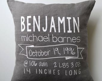 Birth Stats Pillow Cover - Custom Name Pillow - Personalized Baby Pillow