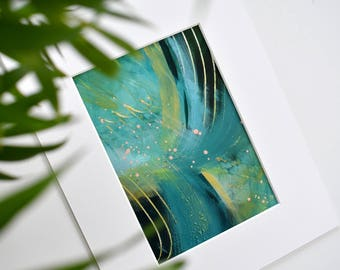 Night Swimming. Small Abstract Painting. Original. Modern Art. Contemporary Acrylic Painting. Green, Gold. Canvas Wall Art. Home Decor.