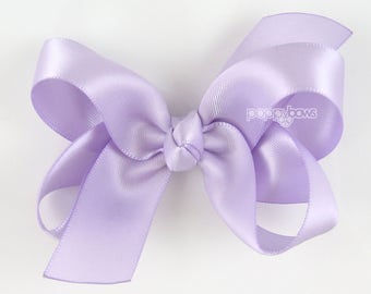"Satin Hair Bow - 3 inch hair bow, lavender hair bow, cream hair bow, girls hair bows, wedding baby hair bow, boutique bows 3"" light purple"