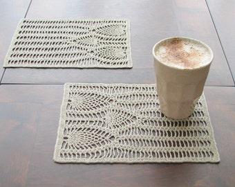 Linen crocheted doily- handmade  napkin - natural color linen yarn- crocheted doily napkin- made to order- table serving