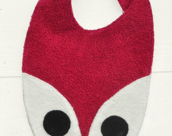 Fox bib pink, fun and playful, Terry & cotton, large bib with Velcro, 0-3 years