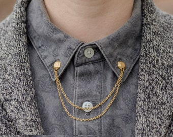 Gold Gem Collar/Cardigan Clip