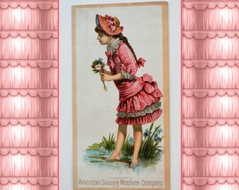 Antique trade card- American Sewing Machine Company- Victorian Bufford card 619