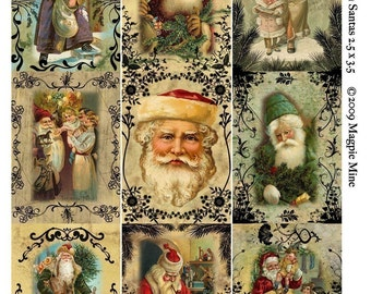 Ornate Victorian Santas - 2.5 x 3.5 ACEO Size Rectangles - Instant Download - Printable - Digital Download