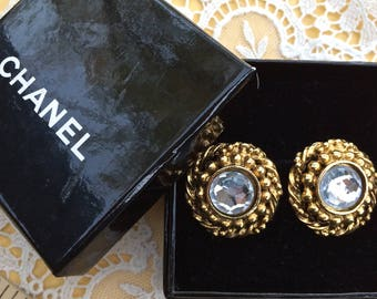 Vintage Chanel earrings, Crystals set in gold, clip-on Chanel earrings, Coco Chanel, Costume jewelry, vintage earrings, TwoSwansSwimming