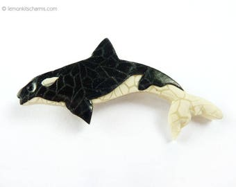 Vintage Killer Whale Brooch Pin, Jewelry 1980s, Orca, Polymer Clay, Plastic Resin, Sea Animal Figural