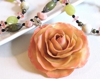 Large Real Rose Necklace -Cream Pink, Flower Necklace, Real Flower Jewelry, Nature Jewelry, Gemstone, Jade