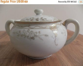 ON SALE Early Hand Painted Nippon Sugar Bowl - Gold Grape Leaves - Morimura Mark