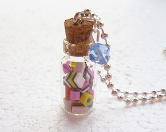 Jar Of Licorice Allsorts Pendant.  Polymer clay