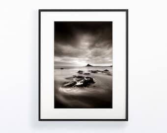 Large Wall Art Print, Coastal Wall Art, Beach House Decor, Sea Print, Sepia, Seascape, Cornwall, Coastal Decor, Beach Prints,