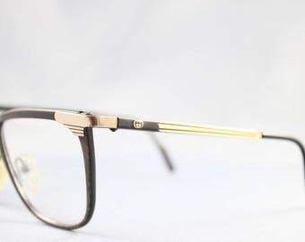 Gucci Vintage 2227 38M Black Gold Tortoise Wayfarer Plastic Metal Eyeglasses Optical Frame Sunglasses