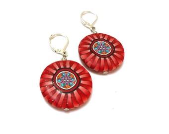 Red mandala Earrings, Geometric kaleidoscope ethnic earrings, artisan made, Celtic polymer clay kaleidoscope, Boho chic, boucles d'oreille