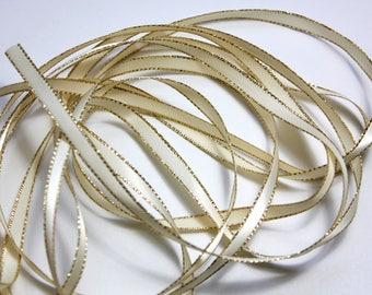 "1/8""- ruban de satin blanc avec un bord doré - 5 yards"