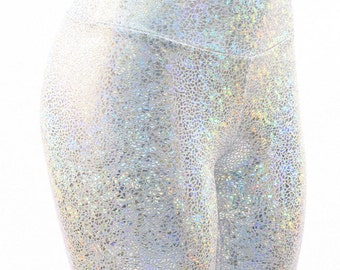 Silver on White Holographic Metallic Shattered Glass High Waist Leggings  -150225