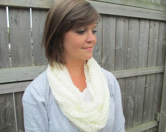 White Lace Cowl Scarf