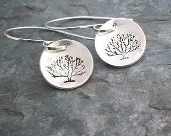 Silver Tree Earrings, Tree Of Life Earrings, Silver Dangle Earrings, Sterling Silver Earrings, Hand Stamped Earrings, Silver Disc Earrings