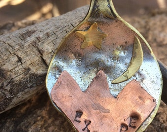 """Spoon Pendant-""""Explore"""" with moon and star"""