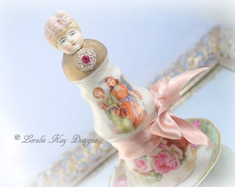 Shabby Pink Roses Assemblage Art Doll Romantic Art Doll Frilly Girl Doll Lorelie Kay Original
