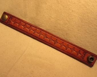 "1"" Wide Hand Tooled Leather Bracelet"