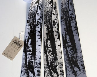 Birch Trees tie. Silkscreen design, men's silk necktie. Choose standard or narrow size.