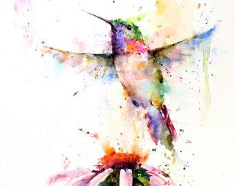 HUMMINGBIRD and Flower Watercolor Bird Art Print by Dean Crouser
