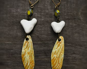 Honey kissed Hand Painted Mustard Yellow Dragonfly Wings White Clay Heart Assemblage earrings, Czech Glass Picasso Bead summer fall jewelry