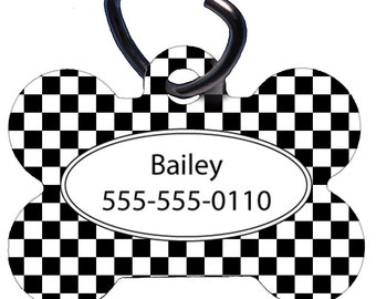 Custom Pet Tag, Personalized Pet ID Tag, Bone Shaped, Dog, Aluminum, Black White Checkered Flag Design, One Sided, Two Sided, Custom Colors