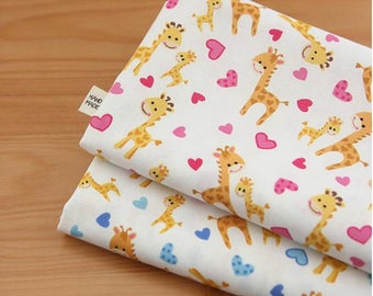 Cute Baby Giraffe Heart Patterned Fabric, Cute, Kids, Sewing, Quilt made in Korea by Half Yard