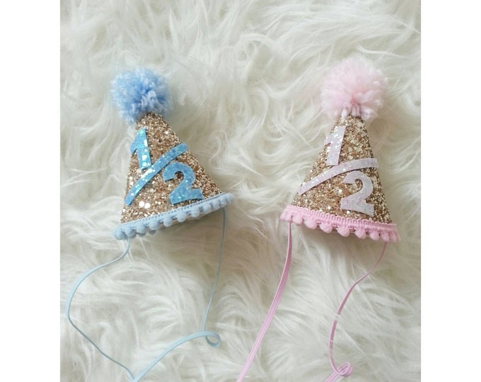 Glittery 1/2 birthday Mini Party Hats   Twin Birthday   Pink or Blue    Party Hat   Cakesmash   Boy/Girl Twins   Pink and Gold   Baby Blue