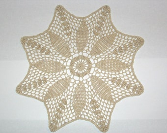 Victorian Ecru Flower Crocheted Doily