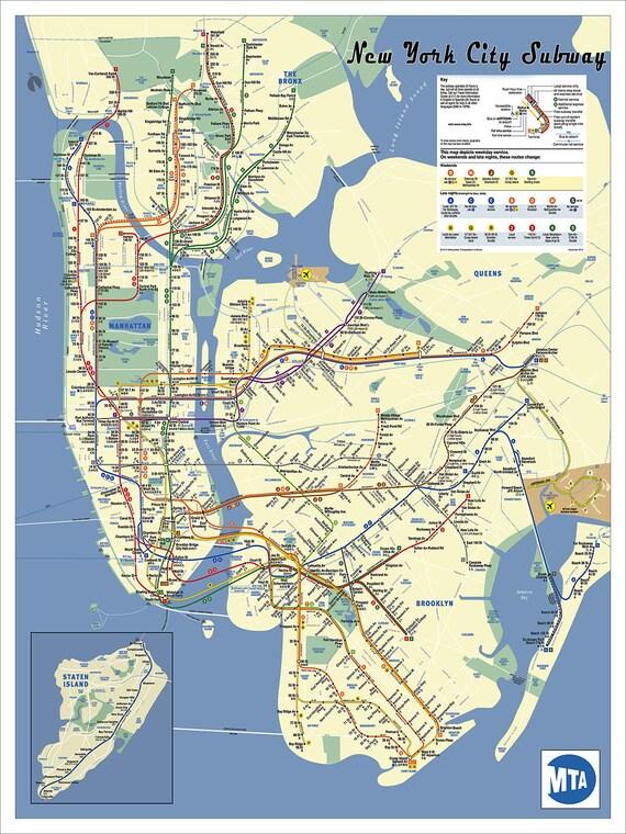 New york city subway map poster30x40 fine art print tube new york city subway map poster30x40 fine art print tube map map art metro map subway nyc map subway art nyc map updated 2017 gumiabroncs Choice Image