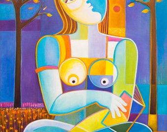 Cubism Abstract Original Oil painting Marlina Vera Fine Art Gallery Reading autumn Picasso Style Cubist figurative modernism woman nude