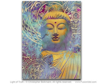 Light of Truth - Zen Buddha Art Canvas - Pastel Buddhist Art by Artist Christopher Beikmann