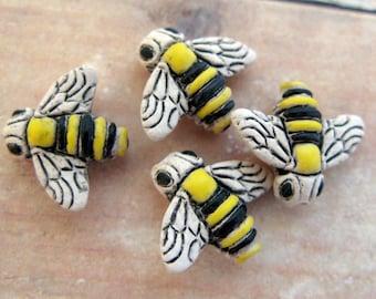 10 Tiny Bumble Bee Beads - CB82
