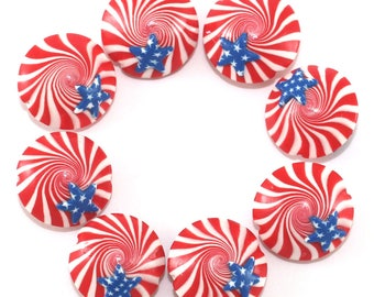 Star spiral jewelry beads for DIY jewelry gift candy beads DIY bracelet DIY necklace handmade polymer clay beads flag beads, 8 pcs