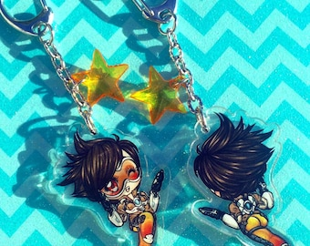 OVERWATCH Inspired - TRACER - Chibi Double Sided Clear Acrylic Keychain Charm