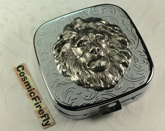 Silver Lion Pill Case Steampunk Pill Case Mirror Case Silver Plated Pill Case Gothic Victorian Steampunk Pill Case Lion Leo Gifts