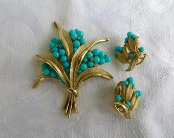 Crown Trifari Demi Parure, Turquoise Rhinestone, Brooch Earring Set, 1960s Trifari Jewelry