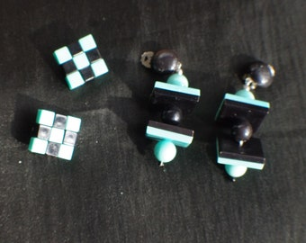 two pair of earrings retro