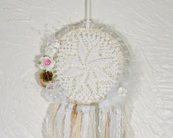 """Bohemian Dreamcatcher, Flower and feather Doily Boho Chic Dream catcher, Modern Dreamcatcher medium 6.5"""""""" size"""