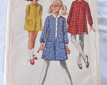 vintage Simplicity 7282 sewing pattern-- Girls Dress (size 7)--1967