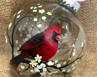 Cardinal Ornament Hand Painted Glass Grief Gift Sentimental Personalized Custom Bird Tree Branches Angel Spiritual Grieving Mourning Loss