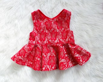 Red & Golds Lace Peplum Top / Girls Christmas Dress / Toddler Holiday Dress /