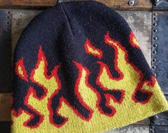 Knit Beanie with Flames/ Ski or Skater Beanie/Goorin Brothers
